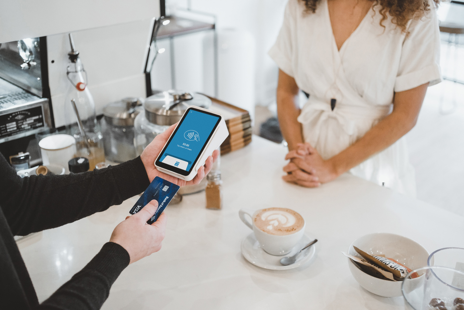 Paying for Coffee with Chip and Pin Device