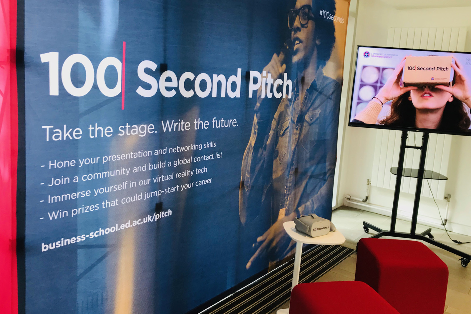100 Second Pitch banner and television advert screen