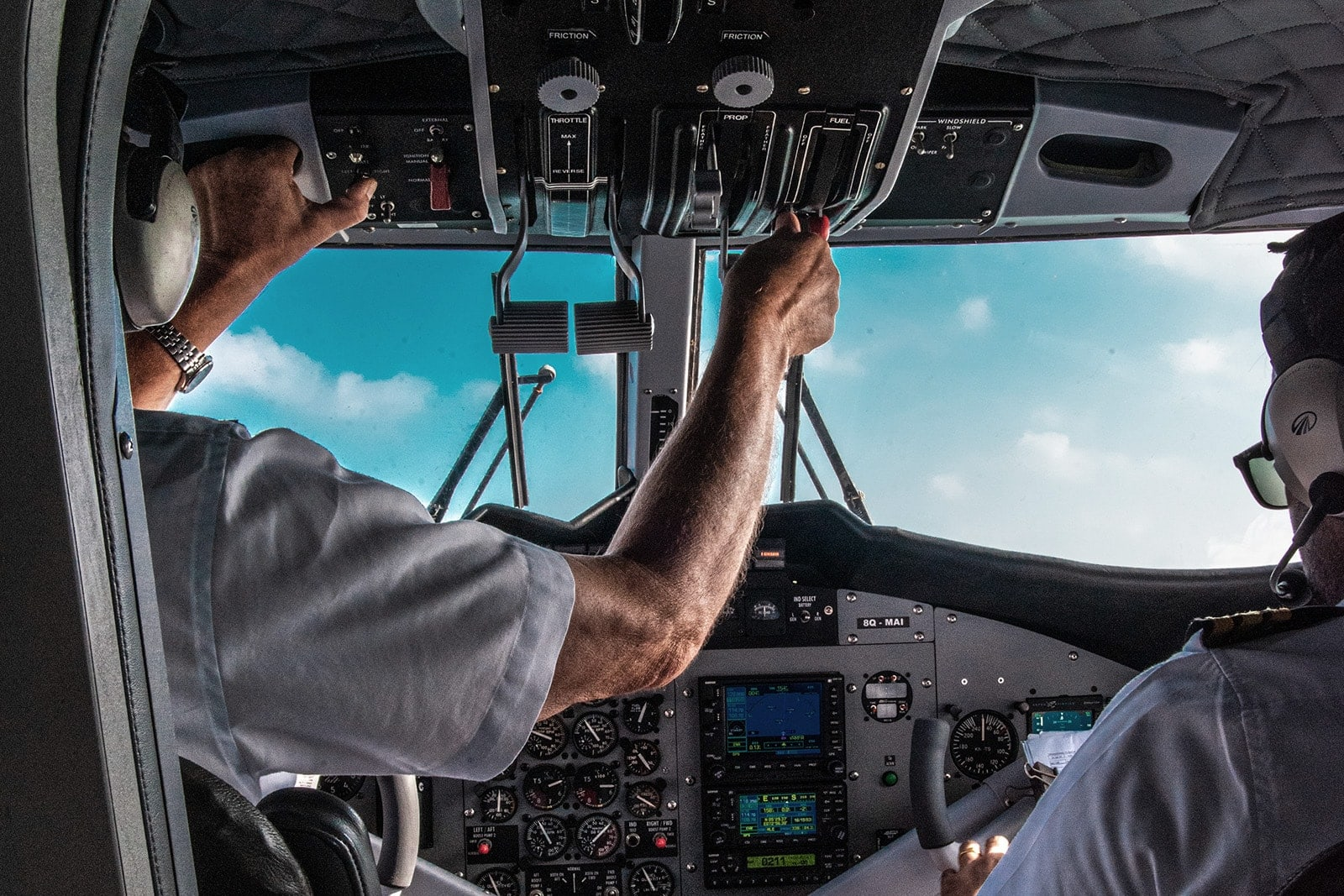 Pilots in Plane Cockpit