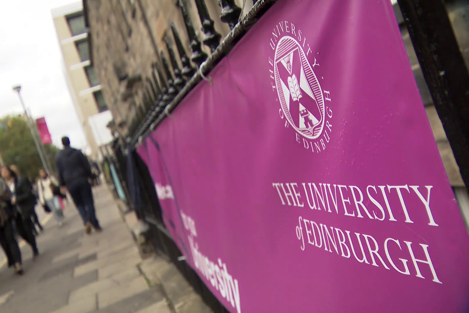 University of Edinburgh banner on George Square