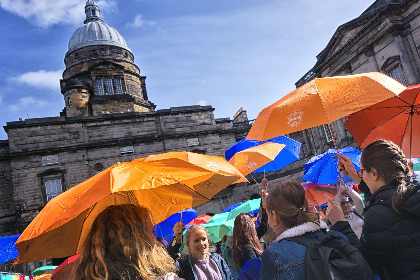 Welcome Week Event with Umbrellas in Old College Quadrangle